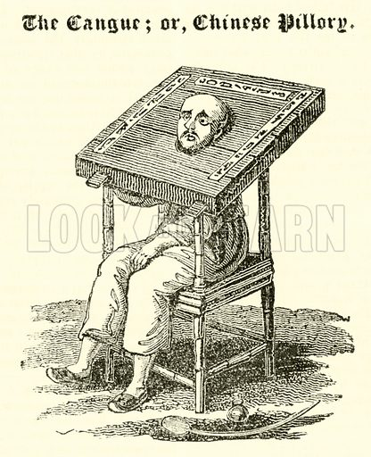 The Cangue, or, Chinese Pillory. Illustration for The Mirror of Literature, Amusement, and Instruction (J Limbird, 1823).