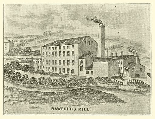 Rawfolds Mill. Illustration for The Risings of the Luddites, Chartists and Plug Drawers by Frank Peel (3rd edn, John Hartley, 1895).