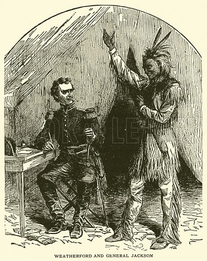 Weatherford and General Jackson. Illustration for True Stories of the American Indians by Edward S Ellis, nd.