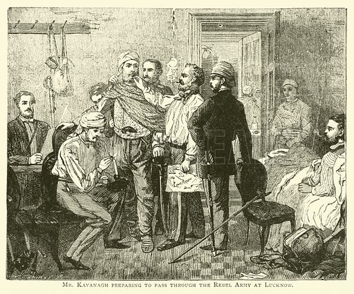 Mr Kavanagh preparing to pass through the Rebel Army at Lucknow. Illustration for The World's Great Events (Ward Lock, c 1880).