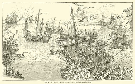 The Kaan's Fleet passing through the Indian Archipelago. Illustration for The Book of Ser Marco Polo, translated and edited by Henry Yule (3rd edn, John Murray, 1921).