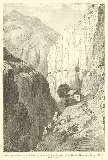 Road descending from the Table-Land of Yun-nan into the Valley of the Kin-sha Kiang, the Brius of Polo. Illustration for The Book of Ser Marco Polo, translated and edited by Henry Yule (3rd edn, John Murray, 1921).
