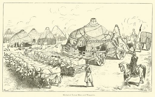 Mediaeval Tartar Huts and Waggons. Illustration for The Book of Ser Marco Polo, translated and edited by Henry Yule (3rd edn, John Murray, 1921).