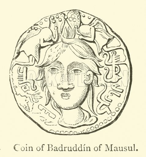 Coin of Badruddin of Mausul. Illustration for The Book of Ser Marco Polo, translated and edited by Henry Yule (3rd edn, John Murray, 1921).