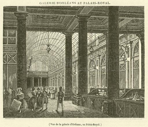 Vue de la galerie d'Orleans, au Palais-Royal. Illustration for Le Magasin Pittoresque (1833).