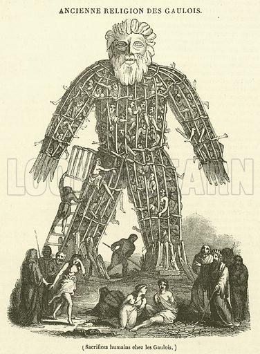 Sacrifices humains chez les Gaulois. Illustration for Le Magasin Pittoresque (1833).