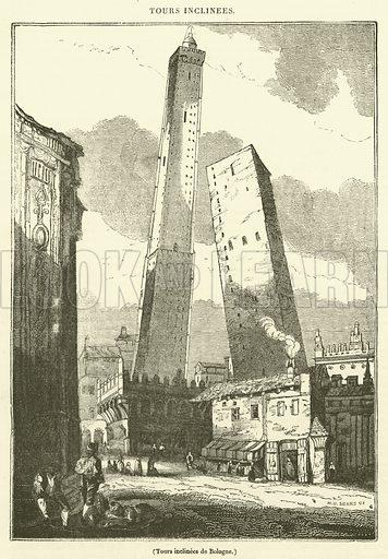 Tours inclinees de Bologne. Illustration for Le Magasin Pittoresque (1833).
