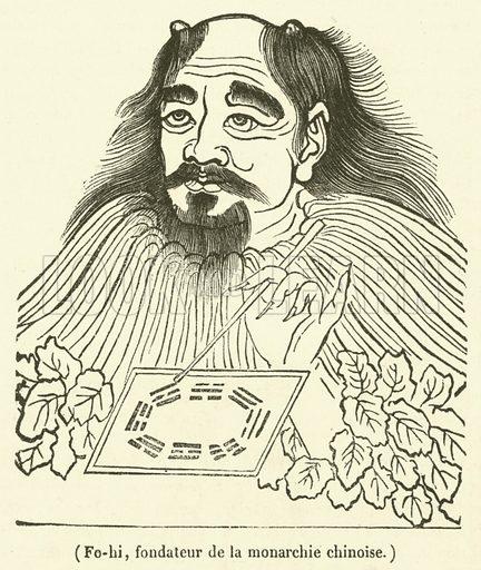 Fo-hi, fondateur de la monarchie chinoise. Illustration for Le Magasin Pittoresque (1833).