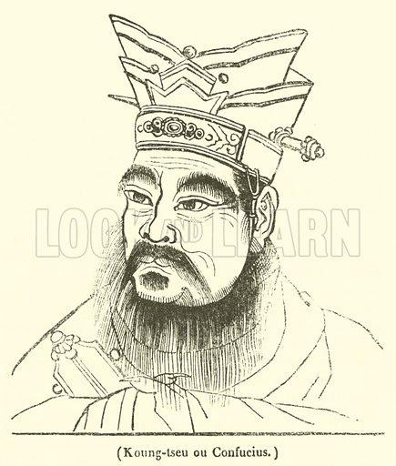 Koung-tseu ou Confucius. Illustration for Le Magasin Pittoresque (1833).