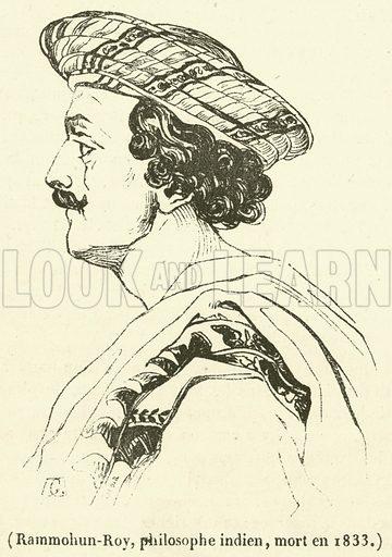 Rammohun-Roy, philosophe indien, mort en 1833. Illustration for Le Magasin Pittoresque (1833).