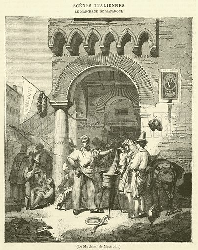 Le Marchand de Macaroni. Illustration for Le Magasin Pittoresque (1833).