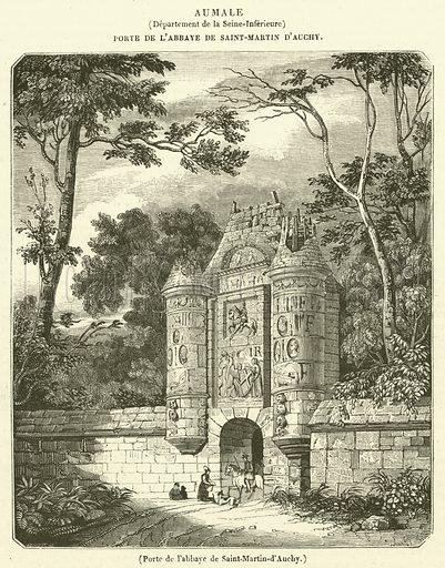 Porte de l'abbaye de Saint-Martin-d'Auchy. Illustration for Le Magasin Pittoresque (1834).