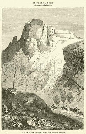 Vue du fort de Joux, prison de Mirabeau et de Toussaint-Louverture. Illustration for Le Magasin Pittoresque (1834).
