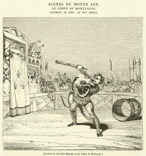 Combat du chevalier Macaire et du Chien de Montargis. Illustration for Le Magasin Pittoresque (1834).