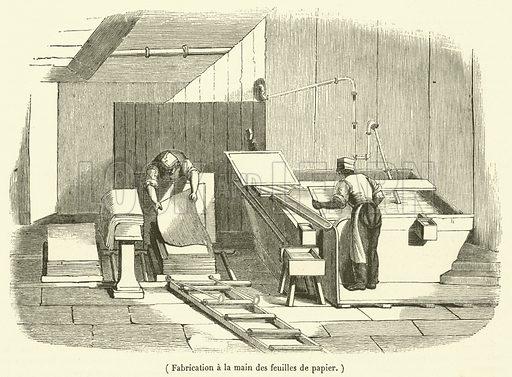Fabrication a la main des feuilles de papier. Illustration for Le Magasin Pittoresque (1834).