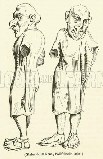 Statue de Maccus, Polichinelle latin. Illustration for Le Magasin Pittoresque (1834).