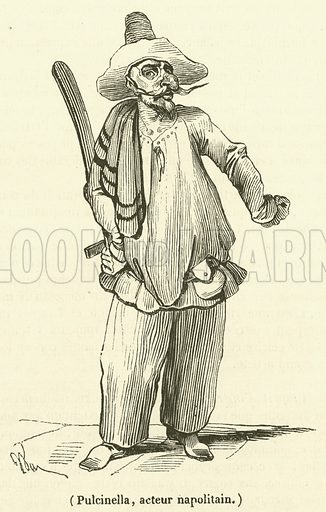 Pulcinella, acteur napolitain. Illustration for Le Magasin Pittoresque (1834).