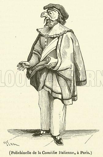 Polichinelle de la Comedie Italienne, a Paris. Illustration for Le Magasin Pittoresque (1834).