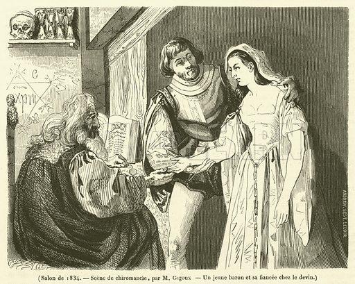Salon de 1834, Scene de chiromancie, Un jeune baron et sa fiancee chez le devin. Illustration for Le Magasin Pittoresque (1834).