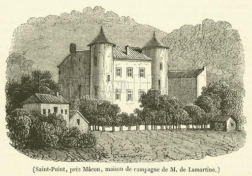 Saint-Point, pres Macon, maison de campagne de M de Lamartine. Illustration for Le Magasin Pittoresque (1834).