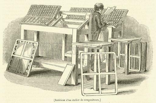 Interieur d'un atelier de compositeurs. Illustration for Le Magasin Pittoresque (1834).