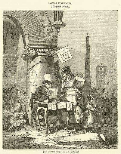 Un ecrivain public francais en Italie. Illustration for Le Magasin Pittoresque (1834).
