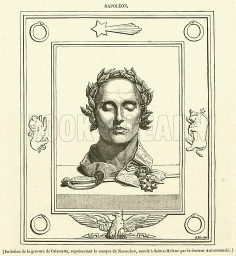 Imitation de la gravure de Calamatta, representant le masque de Napoleon, moule a Sainte-Helene par le docteur Antommarchi. Illustration for Le Magasin Pittoresque (1834).