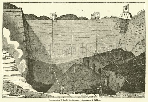 Vue des mines de houille de Commentry, departement de l'Allier. Illustration for Le Magasin Pittoresque (1835).