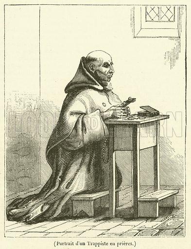 Portrait d'un Trappiste en prieres. Illustration for Le Magasin Pittoresque (1835).