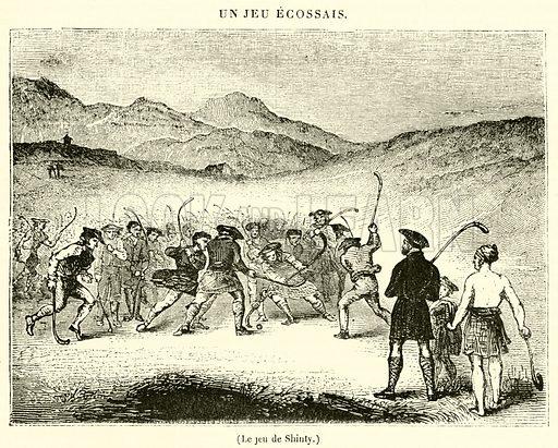 Le jeu de Shinty. Illustration for Le Magasin Pittoresque (1835).