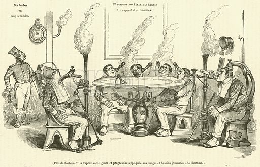 Plus de barbiers!!! la vapeur intelligente et progressive appliquee aux usages et besoins journaliers de l'homme. Illustration for Le Magasin Pittoresque (1835).