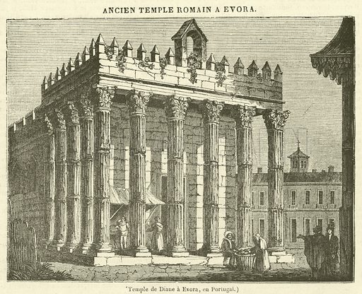 Temple de Diane a Evora, en Portugal. Illustration for Le Magasin Pittoresque (1835).