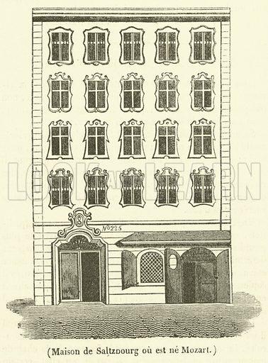 Maison de Saltzbourg ou est ne Mozart. Illustration for Le Magasin Pittoresque (1835).