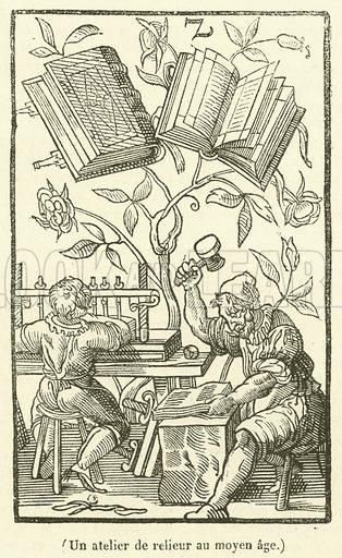 Un atelier de relieur au moyen age. Illustration for Le Magasin Pittoresque (1836).