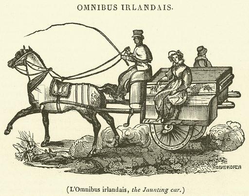 L'Omnibus irlandais, the Jaunting car. Illustration for Le Magasin Pittoresque (1836).