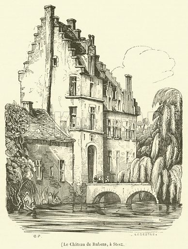 Le Chateau de Rubens, a Steen. Illustration for Le Magasin Pittoresque (1836).