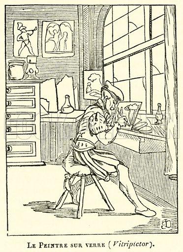 Le Peintre sur verre, Vitripictor. Illustration for Le Magasin Pittoresque (1836).
