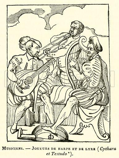 Musiciens, Joueurs de harpe et de lyre, Cythara et Testudo. Illustration for Le Magasin Pittoresque (1836).