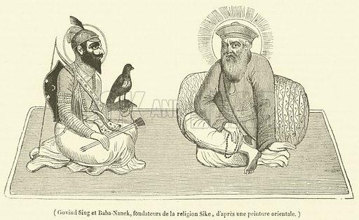 Govind Sing et Baba-Nanek, fondateurs de la religion Sike. Illustration for Le Magasin Pittoresque (1836).