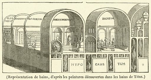 Representation de bains. Illustration for Le Magasin Pittoresque (1836).