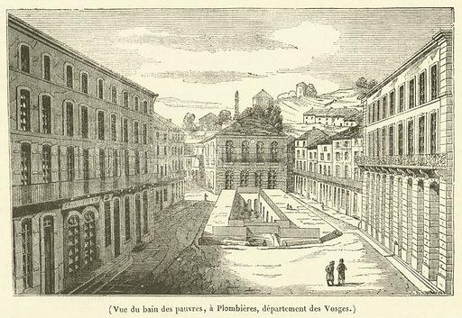 Vue du bain des pauvres, a Plombieres, departement des Vosges. Illustration for Le Magasin Pittoresque (1836).
