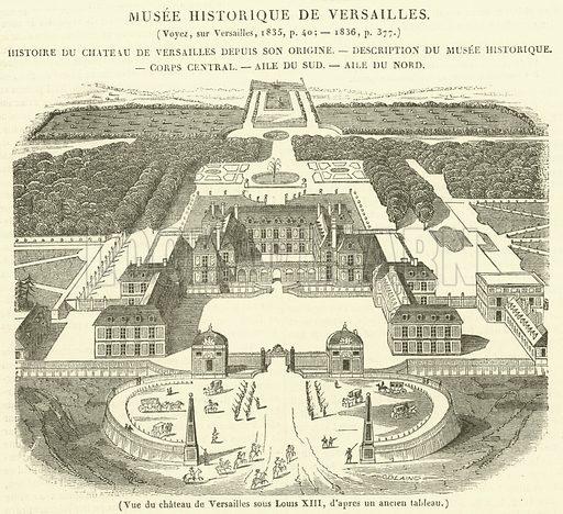 Vue du chateau de Versailles sous Louis XIII. Illustration for Le Magasin Pittoresque (1837).