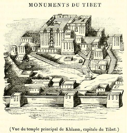 Vue du temple principal de Khlassa, capitale du Tibet. Illustration for Le Magasin Pittoresque (1837).