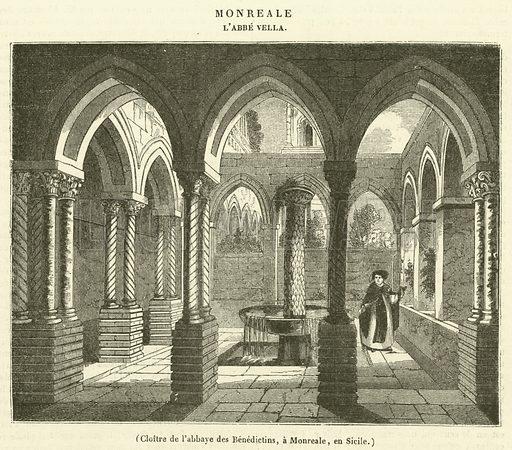 Cloitre de l'abbaye des Benedictins, a Monreale, en Sicile. Illustration for Le Magasin Pittoresque (1837).