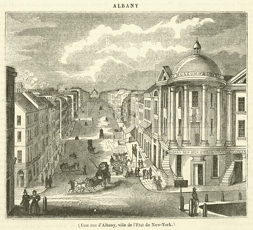 Une rue d'Albany, ville de l'Etat de New-York. Illustration for Le Magasin Pittoresque (1837).