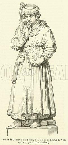 Statue de Jouvenel des Ursins, a la facade de l'Hotel-de-Ville de Paris. Illustration for Le Magasin Pittoresque (1838).