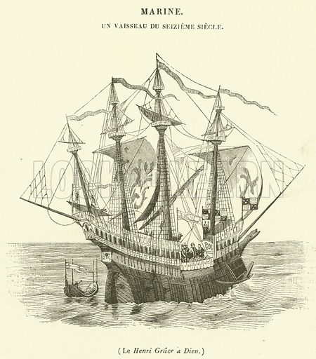 Le Henri Grace a Dieu. Illustration for Le Magasin Pittoresque (1838).