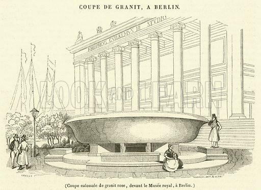 Coupe colossale de granit rose, devant le Musee royal, a Berlin. Illustration for Le Magasin Pittoresque (1838).