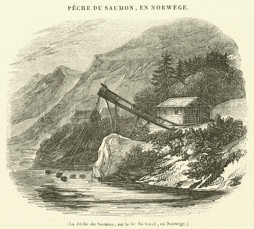 La Peche du Saumon, sur le lac So traad, en Norwege. Illustration for Le Magasin Pittoresque (1838).