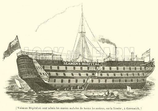 Vaisseau Hopital ou sont admis les marins malades de toutes les nations, sur la Tamise, a Greenwich. Illustration for Le Magasin Pittoresque (1839).